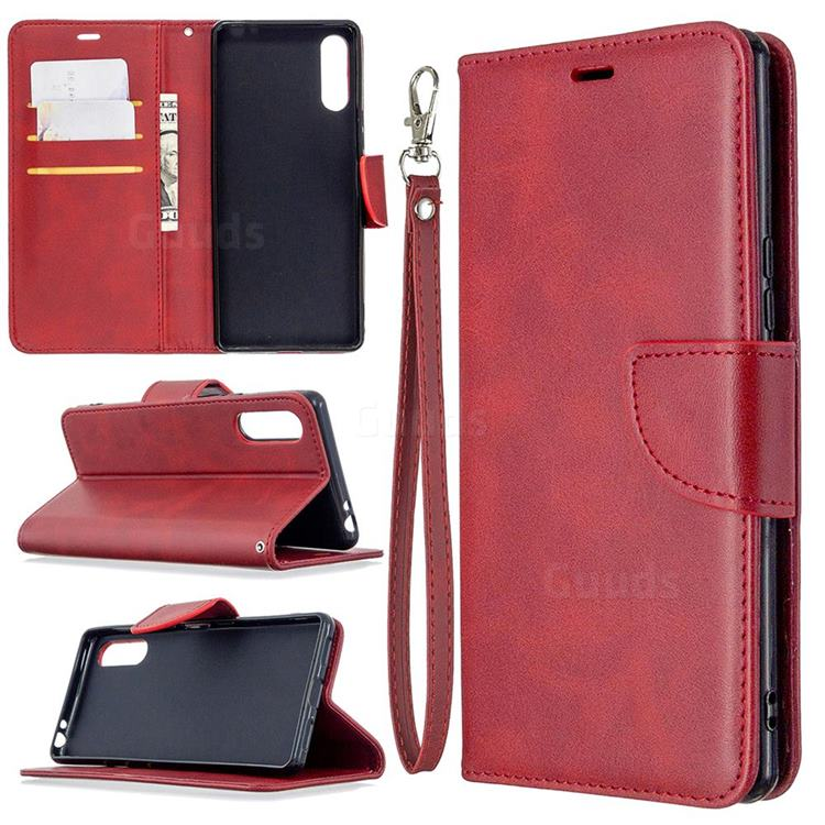 Classic Sheepskin PU Leather Phone Wallet Case for Sony Xperia L4 - Red