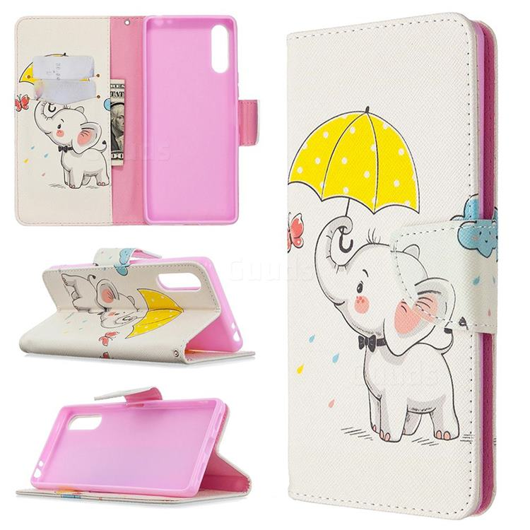 Umbrella Elephant Leather Wallet Case for Sony Xperia L4