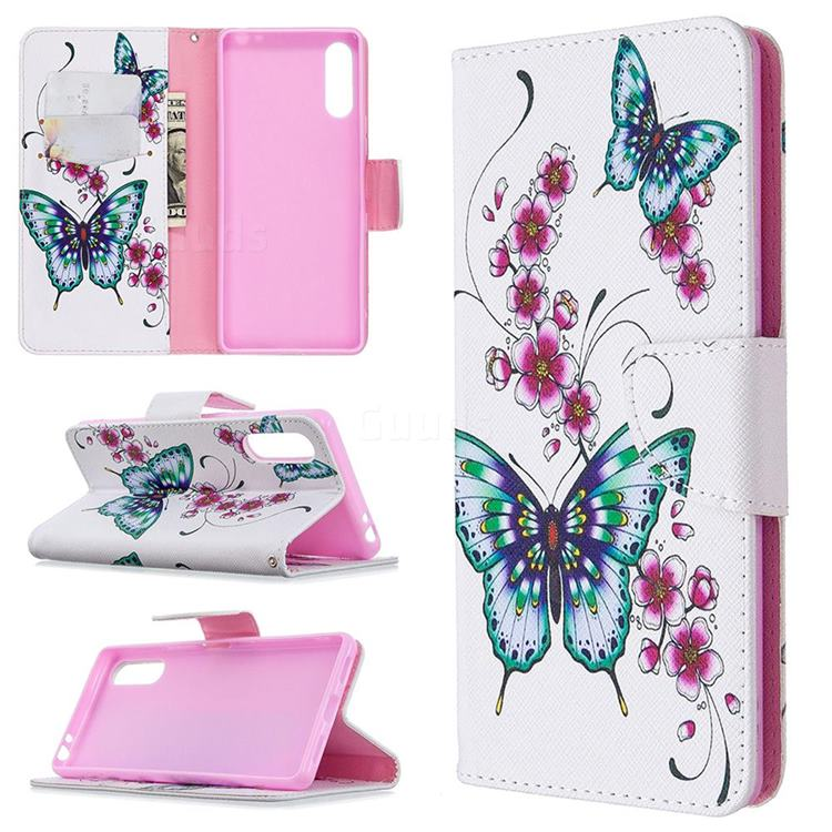 Peach Butterflies Leather Wallet Case for Sony Xperia L4