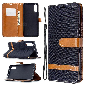 Jeans Cowboy Denim Leather Wallet Case for Sony Xperia L4 - Black