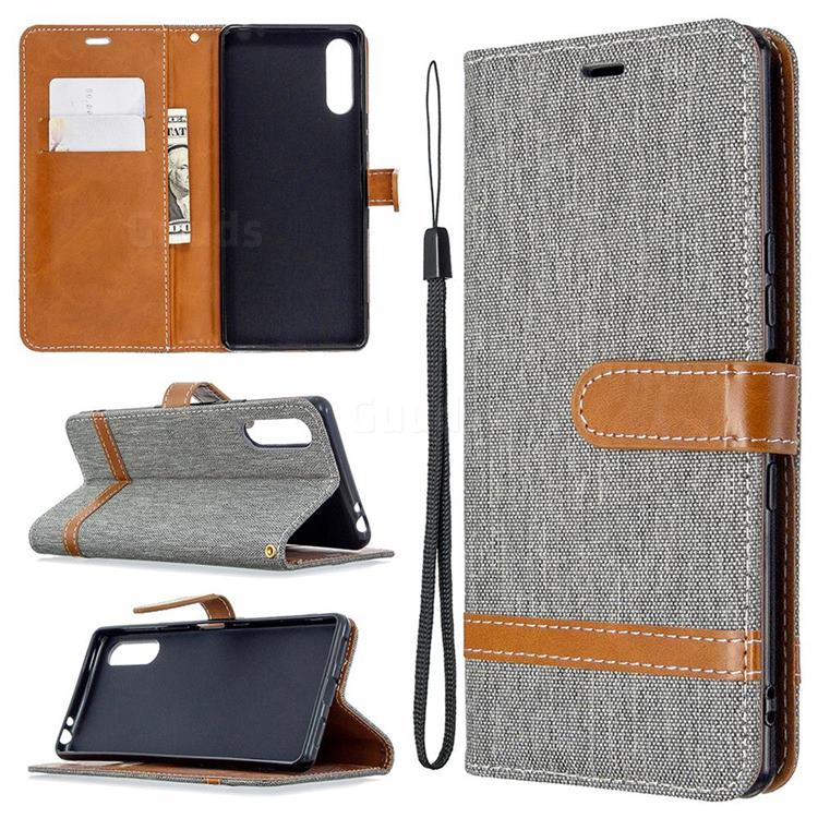 Jeans Cowboy Denim Leather Wallet Case for Sony Xperia L4 - Gray
