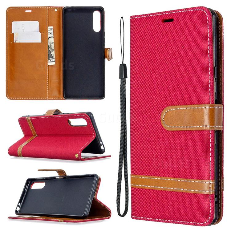Jeans Cowboy Denim Leather Wallet Case for Sony Xperia L4 - Red