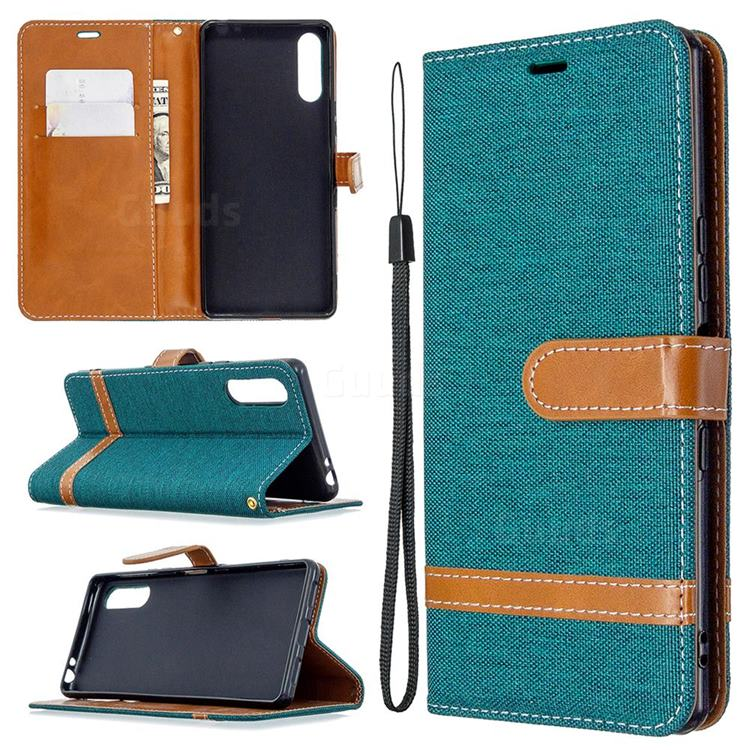 Jeans Cowboy Denim Leather Wallet Case for Sony Xperia L4 - Green