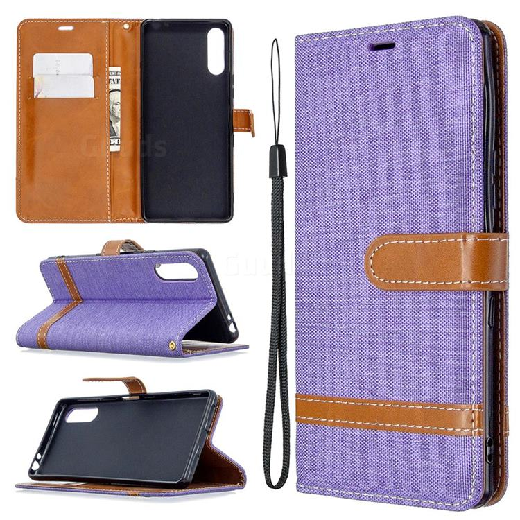 Jeans Cowboy Denim Leather Wallet Case for Sony Xperia L4 - Purple