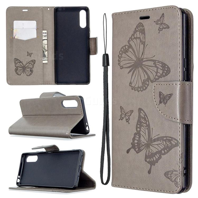 Embossing Double Butterfly Leather Wallet Case for Sony Xperia L4 - Gray