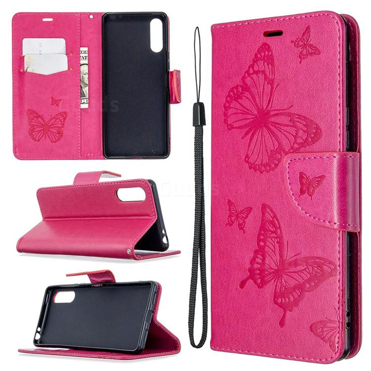 Embossing Double Butterfly Leather Wallet Case for Sony Xperia L4 - Red
