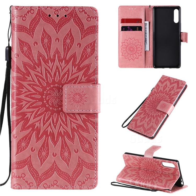 Embossing Sunflower Leather Wallet Case for Sony Xperia L4 - Pink