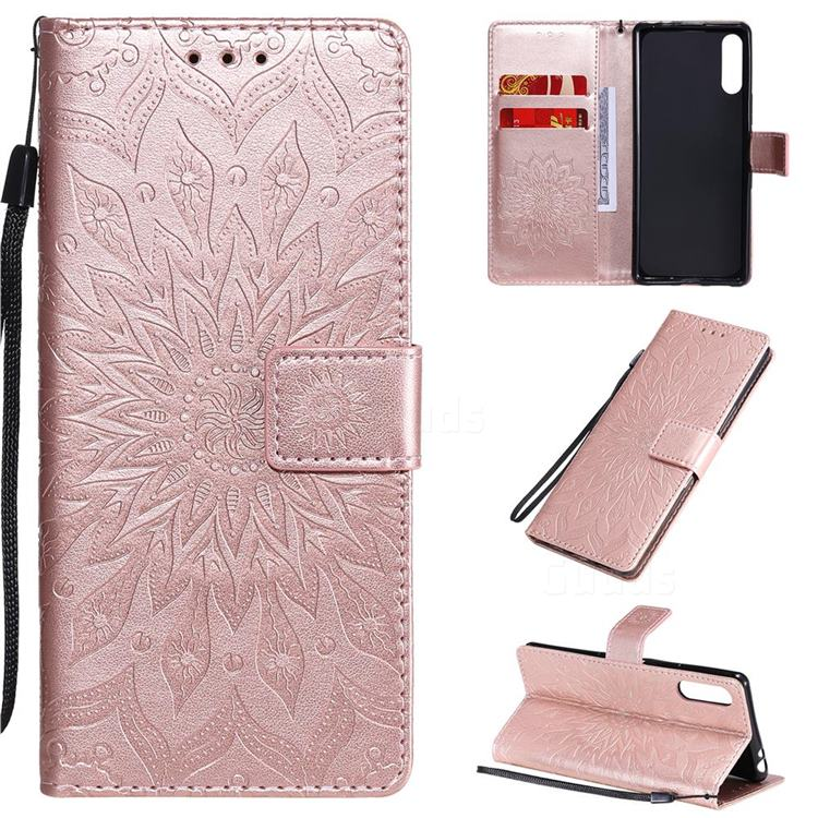 Embossing Sunflower Leather Wallet Case for Sony Xperia L4 - Rose Gold