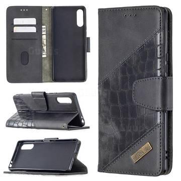 BinfenColor BF04 Color Block Stitching Crocodile Leather Case Cover for Sony Xperia L4 - Black