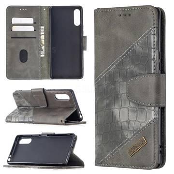 BinfenColor BF04 Color Block Stitching Crocodile Leather Case Cover for Sony Xperia L4 - Gray