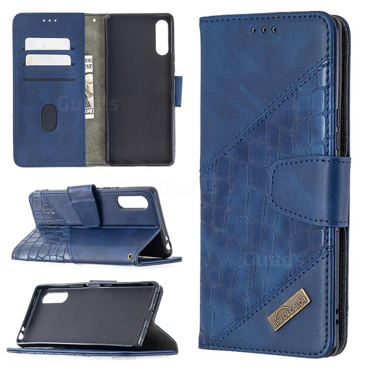 BinfenColor BF04 Color Block Stitching Crocodile Leather Case Cover for Sony Xperia L4 - Blue