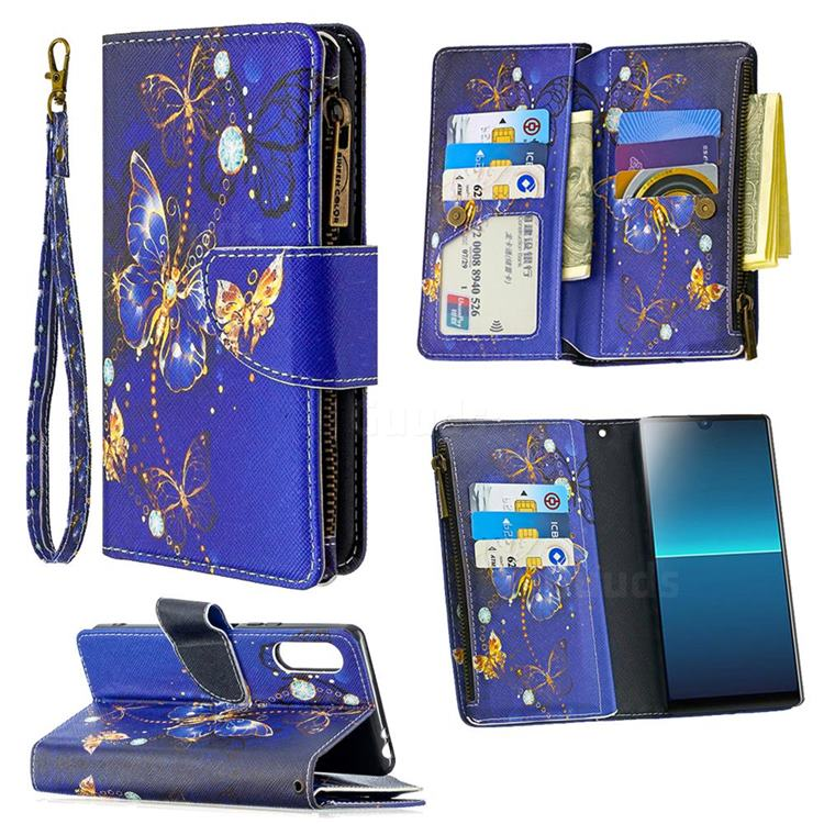 Purple Butterfly Binfen Color BF03 Retro Zipper Leather Wallet Phone Case for Sony Xperia L4