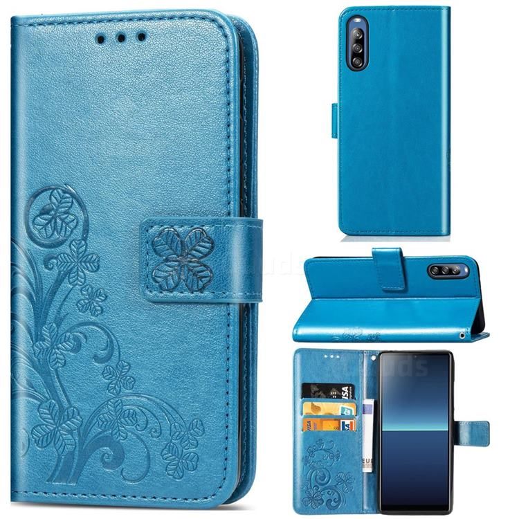Embossing Imprint Four-Leaf Clover Leather Wallet Case for Sony Xperia L4 - Blue