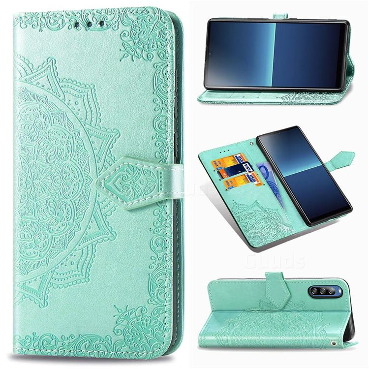 Embossing Imprint Mandala Flower Leather Wallet Case for Sony Xperia L4 - Green