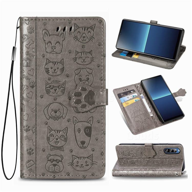 Embossing Dog Paw Kitten and Puppy Leather Wallet Case for Sony Xperia L4 - Gray
