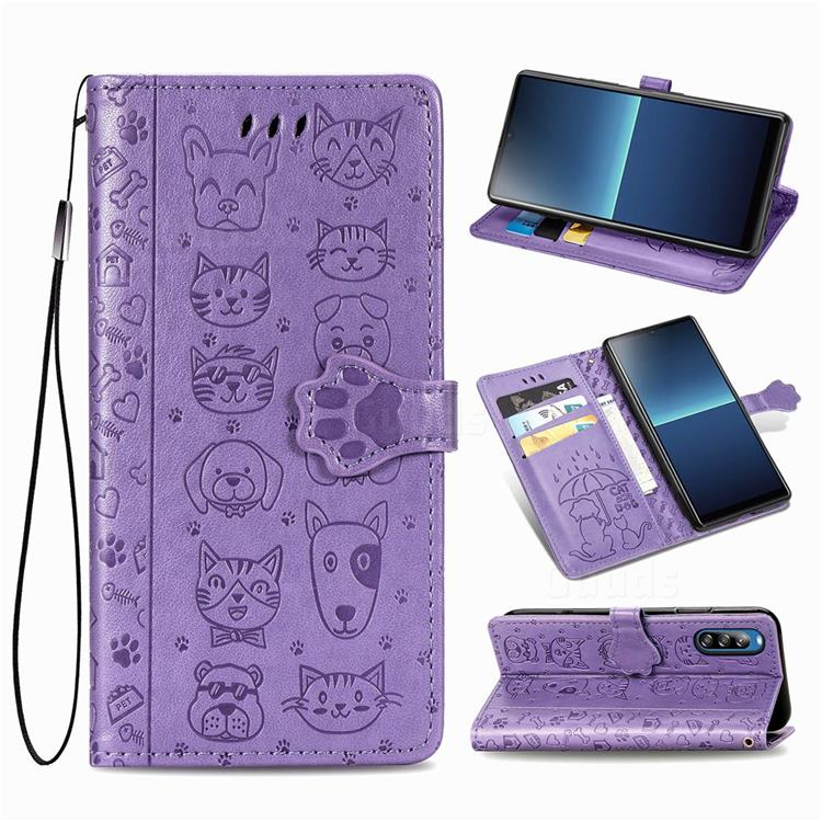 Embossing Dog Paw Kitten and Puppy Leather Wallet Case for Sony Xperia L4 - Purple