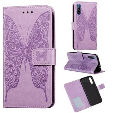 Intricate Embossing Vivid Butterfly Leather Wallet Case for Sony Xperia L4 - Purple