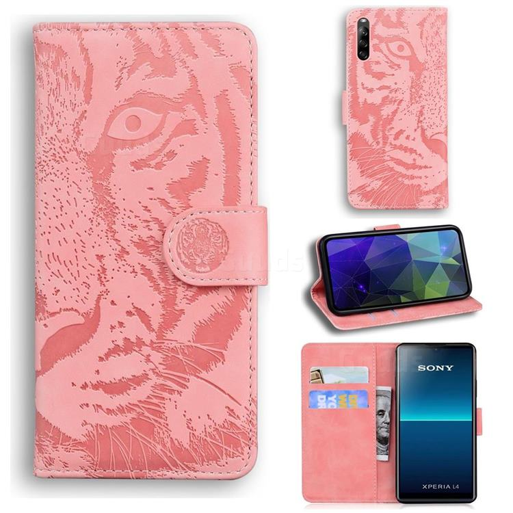 Intricate Embossing Tiger Face Leather Wallet Case for Sony Xperia L4 - Pink