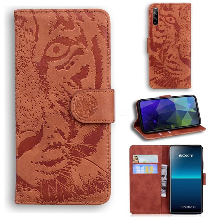 Intricate Embossing Tiger Face Leather Wallet Case for Sony Xperia L4 - Brown