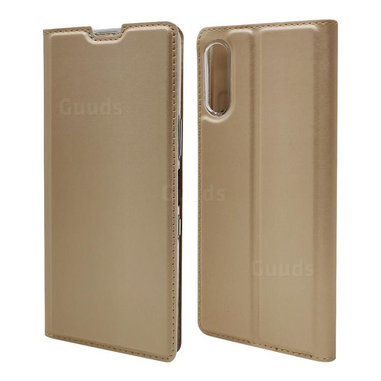 Ultra Slim Card Magnetic Automatic Suction Leather Wallet Case for Sony Xperia L4 - Champagne