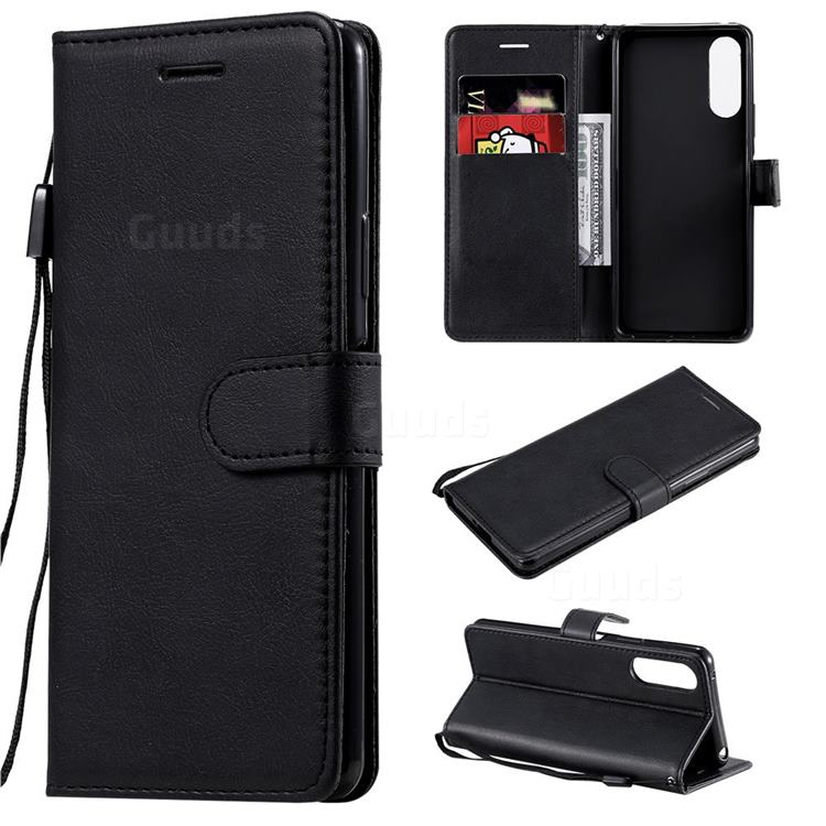 Retro Greek Classic Smooth PU Leather Wallet Phone Case for Sony Xperia 10 II - Black