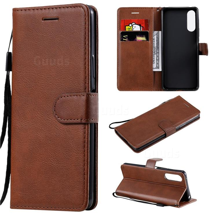 Retro Greek Classic Smooth PU Leather Wallet Phone Case for Sony Xperia 10 II - Brown
