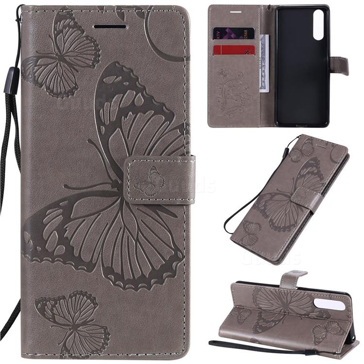 Embossing 3D Butterfly Leather Wallet Case for Sony Xperia 10 II - Gray