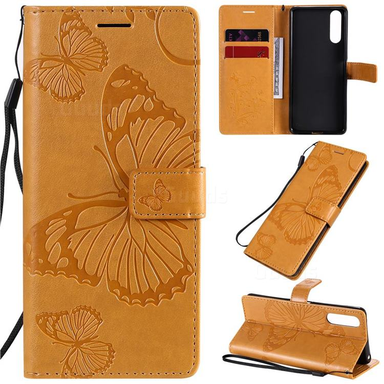Embossing 3D Butterfly Leather Wallet Case for Sony Xperia 10 II - Yellow