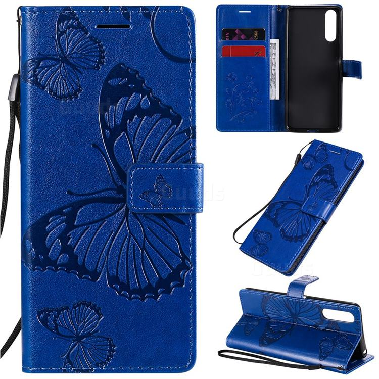 Embossing 3D Butterfly Leather Wallet Case for Sony Xperia 10 II - Blue