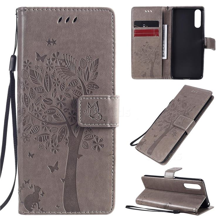 Embossing Butterfly Tree Leather Wallet Case for Sony Xperia 10 II - Grey