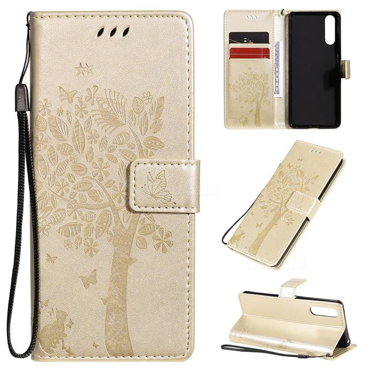 Embossing Butterfly Tree Leather Wallet Case for Sony Xperia 10 II - Champagne