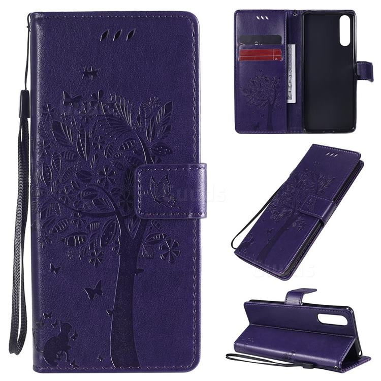 Embossing Butterfly Tree Leather Wallet Case for Sony Xperia 10 II - Purple