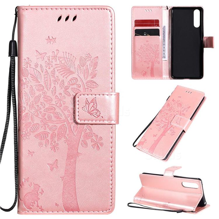 Embossing Butterfly Tree Leather Wallet Case for Sony Xperia 10 II - Rose Pink