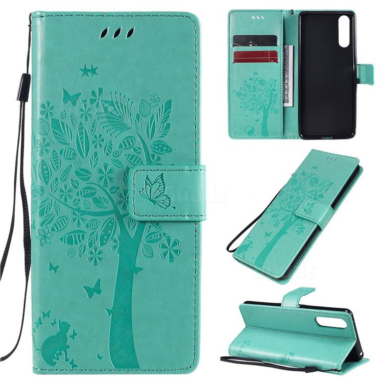 Embossing Butterfly Tree Leather Wallet Case for Sony Xperia 10 II - Cyan
