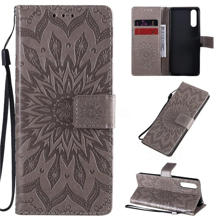 Embossing Sunflower Leather Wallet Case for Sony Xperia 10 II - Gray