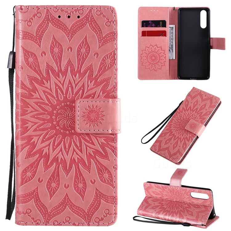 Embossing Sunflower Leather Wallet Case for Sony Xperia 10 II - Pink