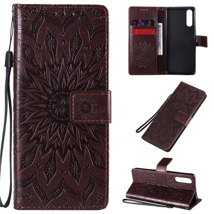 Embossing Sunflower Leather Wallet Case for Sony Xperia 10 II - Brown