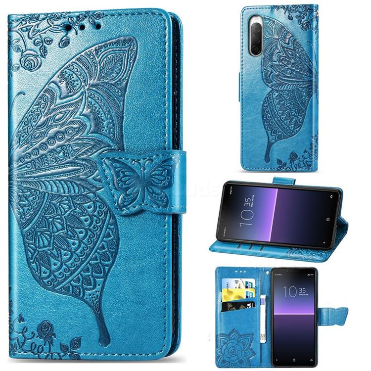 Embossing Mandala Flower Butterfly Leather Wallet Case for Sony Xperia 10 II - Blue