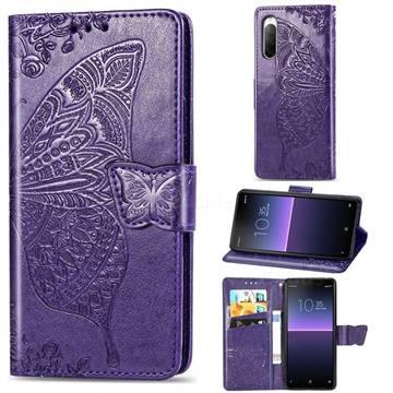 Embossing Mandala Flower Butterfly Leather Wallet Case for Sony Xperia 10 II - Dark Purple