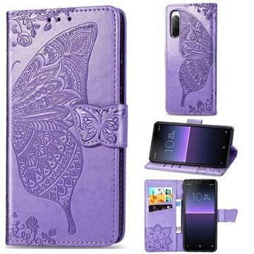 Embossing Mandala Flower Butterfly Leather Wallet Case for Sony Xperia 10 II - Light Purple