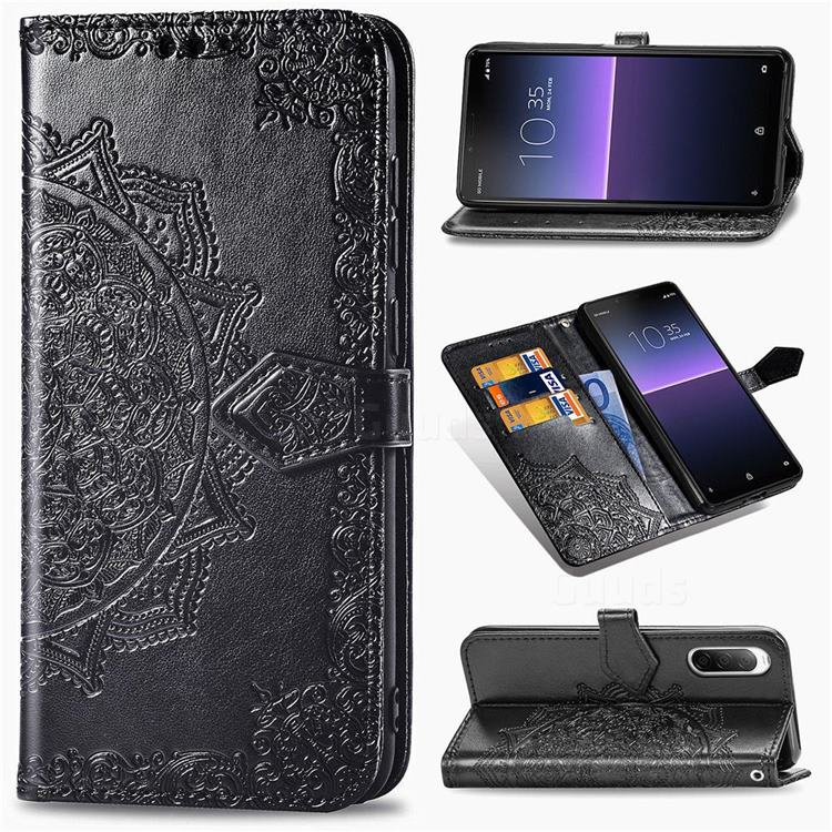 Embossing Imprint Mandala Flower Leather Wallet Case for Sony Xperia 10 II - Black