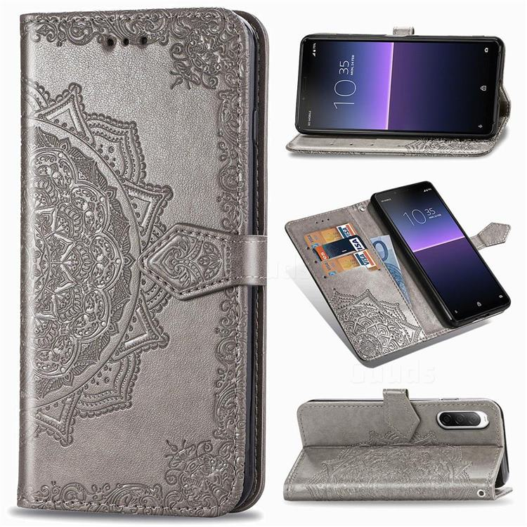 Embossing Imprint Mandala Flower Leather Wallet Case for Sony Xperia 10 II - Gray