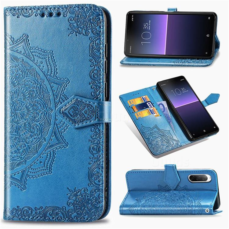 Embossing Imprint Mandala Flower Leather Wallet Case for Sony Xperia 10 II - Blue