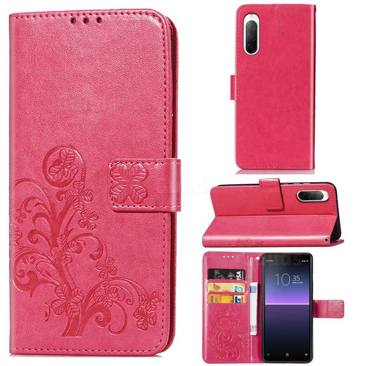 Embossing Imprint Four-Leaf Clover Leather Wallet Case for Sony Xperia 10 II - Rose Red