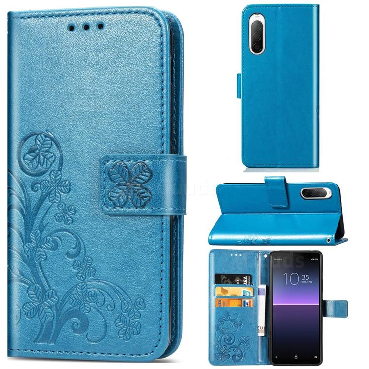 Embossing Imprint Four-Leaf Clover Leather Wallet Case for Sony Xperia 10 II - Blue