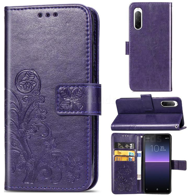 Embossing Imprint Four-Leaf Clover Leather Wallet Case for Sony Xperia 10 II - Purple