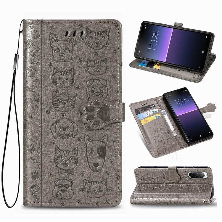 Embossing Dog Paw Kitten and Puppy Leather Wallet Case for Sony Xperia 10 II - Gray