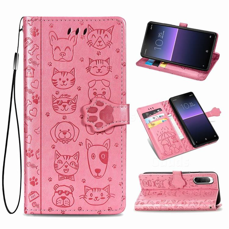 Embossing Dog Paw Kitten and Puppy Leather Wallet Case for Sony Xperia 10 II - Pink