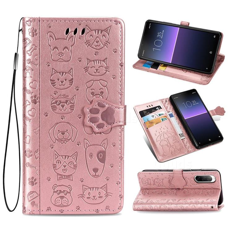 Embossing Dog Paw Kitten and Puppy Leather Wallet Case for Sony Xperia 10 II - Rose Gold
