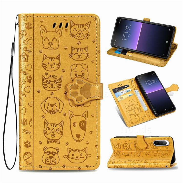 Embossing Dog Paw Kitten and Puppy Leather Wallet Case for Sony Xperia 10 II - Yellow